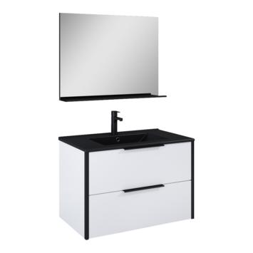 Atlantic Aria badmeubelset met spiegel en zwarte wastafel 80cm Mat Wit