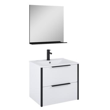 Atlantic Aria badmeubelset met spiegel en witte wastafel 60cm Mat Wit