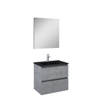 Atlantic Heon badmeubelset met spiegel en zwarte wastafel 60cm Beton
