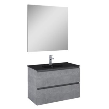 Atlantic Heon badmeubelset met spiegel en zwarte wastafel 80cm Beton