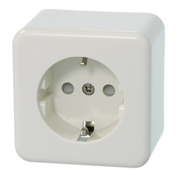 Plieger Basic opbouw stopcontact enkel geaard wit