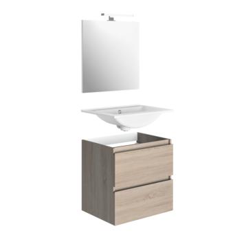 Allibert badmeubelset Madrid 80 cm eik Hamilton met porceleinen wastafel en spiegel met ledverlichting