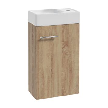 Allibert badmeubelset Mike 40 cm eik met porceleinen wastafel compact met grote opslagcapaciteit