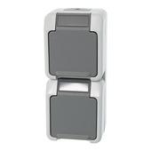 Schneider Electric Merten stopcontact dubbel geaard grijs spatwaterdicht