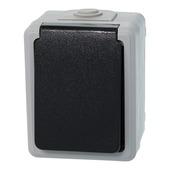 Plieger stopcontact geaard grijs/zwart spatwaterdicht