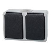 Plieger stopcontact geaard 2-voudig horizontaal grijs/zwart spatwaterdicht
