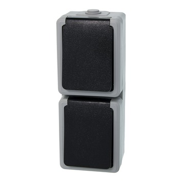 Plieger stopcontact geaard 2-voudig verticaal grijs/zwart spatwaterdicht