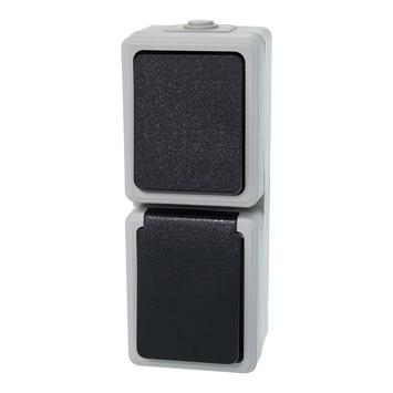 Plieger combinatieschakelaar verticaal grijs/zwart spatwaterdicht