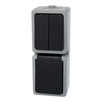 Plieger combinatie serieschakelaar geaard verticaal grijs/zwart spatwaterdicht