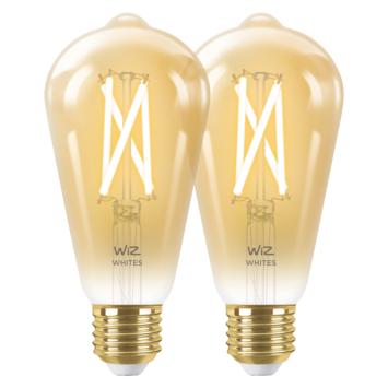 WiZ Connected LED edison E27 50W 2 stuks filament gold koel tot warmwit licht dimbaar