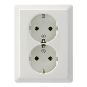 Schneider electric Artec stopcontact dubbel geaardndaarde wit