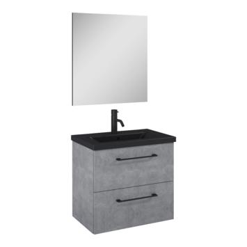 Atlantic Sienna badmeubelset met spiegel en zwarte wastafel 60cm Beton