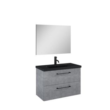 Atlantic Sienna badmeubelset met spiegel en zwarte wastafel 80cm Beton