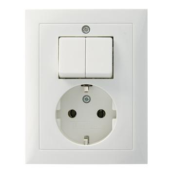 Berker S.1 stopcontact geaard en serieschakelaar wit