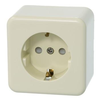 Plieger Basic opbouw stopcontact enkel geaard crème