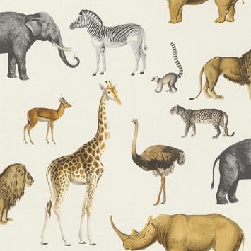 Claas vliesbehang afrikadieren wit (dessin 552683)