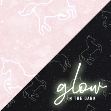 Papierbehang Glow in the Dark - Unicorn roze (dessin 112165)