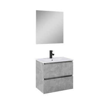 Atlantic Heon badmeubelset met spiegel en witte wastafel 60cm Beton