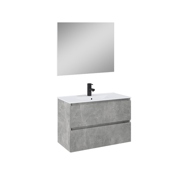 Atlantic Heon badmeubelset met spiegel en witte wastafel 80cm Beton