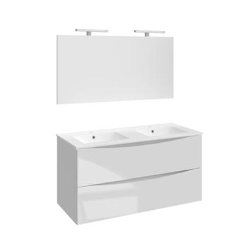 Allibert badmeubelset Smiley 120 cm glanzend wit met dubbele porceleinen wastafel en spiegel met ledverlichting