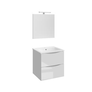Allibert badmeubelset Smiley 60 cm glanzend wit met porceleinen wastafel en spiegel met ledverlichting