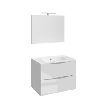 Allibert badmeubelset Smiley 80 cm glanzend wit met porceleinen wastafel en spiegel met ledverlichting