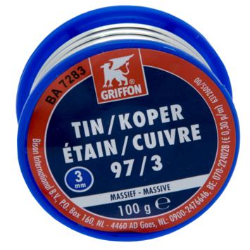 Griffon Draadsoldeer Tin/Koper 97/3 MS 3MM 100 Gr
