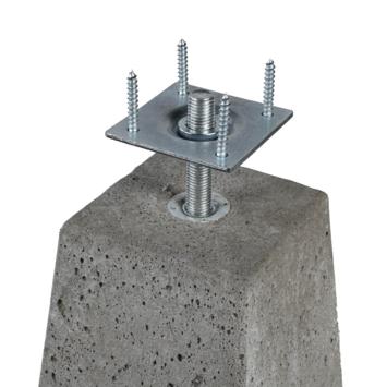 Betonpoer met Plaat, taps 24x24/15x15 cm hoogte 40 cm
