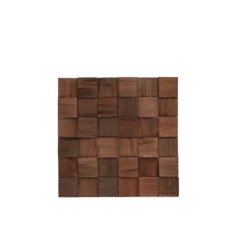 Teak wandbekleding Cubes charred (ca. 0,52 m²)