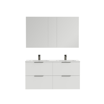 Tiger Studio badkamermeubel 120 cm hoogglans wit met wastafel dubbel polybeton mat wit greep rvs plat