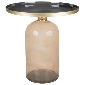Bijzettafel Soof glas metaal bruin