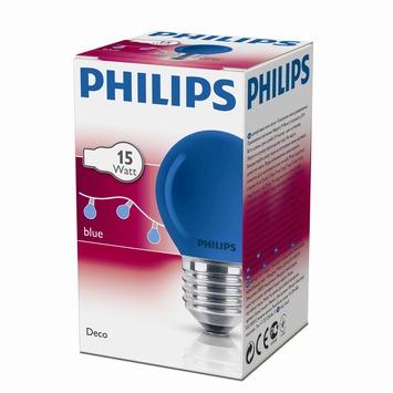 Philips kogellamp blauw E27 15W