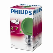 Philips kogellamp groen E27 15W