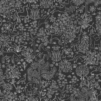 Vliesbehang puck zwart-wit (dessin 113298)