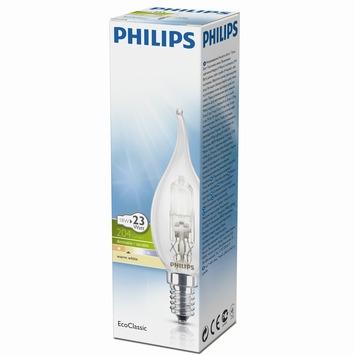 Philips EcoClassic halogeenlamp kaars met gebogen uiteinde helderE14 18W
