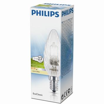 Philips EcoClassic halogeenlamp gedraaide kaars helder E14 18W