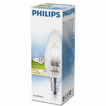 Philips EcoClassic halogeenlamp gedraaide kaars helder E14 28W