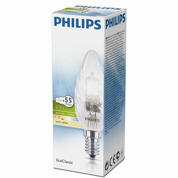 Philips EcoClassic halogeenlamp gedraaide kaars helder E14 42W