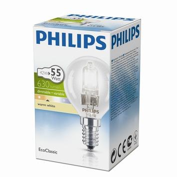 Philips EcoClassic halogeenlamp kogel helder E14 42W