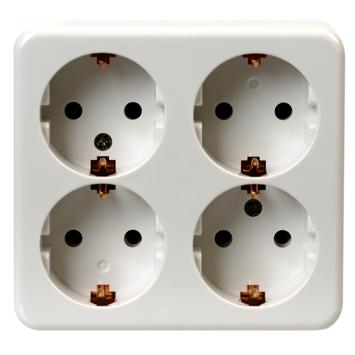 OK 4-voudig geaard stopcontact opbouw wit