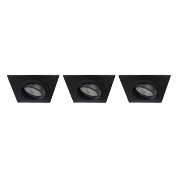 Karwei inbouwspot vierkant zwart set van 3