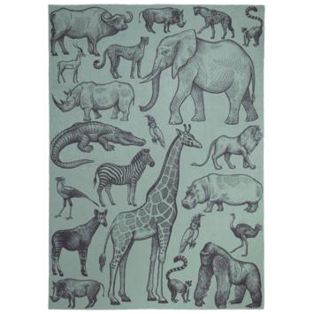 Sem Vloerkleed groen met dierenprint 120x170 cm