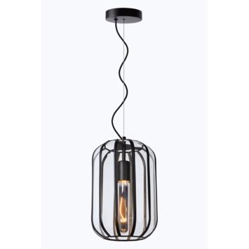 Lucide Fern Hanglamp Zwart /Glas Ø20cm
