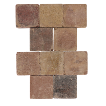 Trommelsteen Beton Bont 14x14x7 cm - 45 Stuks / 0,90 m2