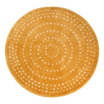 Milas Vloerkleed geel/witte stip Ø160 cm