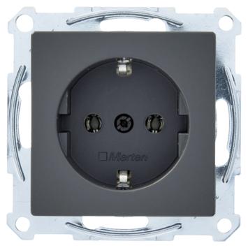Schneider System M enkel geaard stopcontact antraciet
