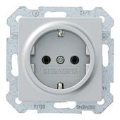 Siemens Delta enkel geaard stopcontact aluminium