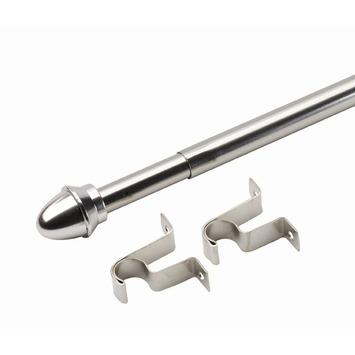 Uitschuifbare caferod zilver complete set 75-125 cm