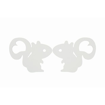 WOOOD wanddecoratie eekhoorntjes set wit 2 stuks