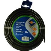 Profile huishoudsnoer rond zwart 2x 0,75mm² 20 m